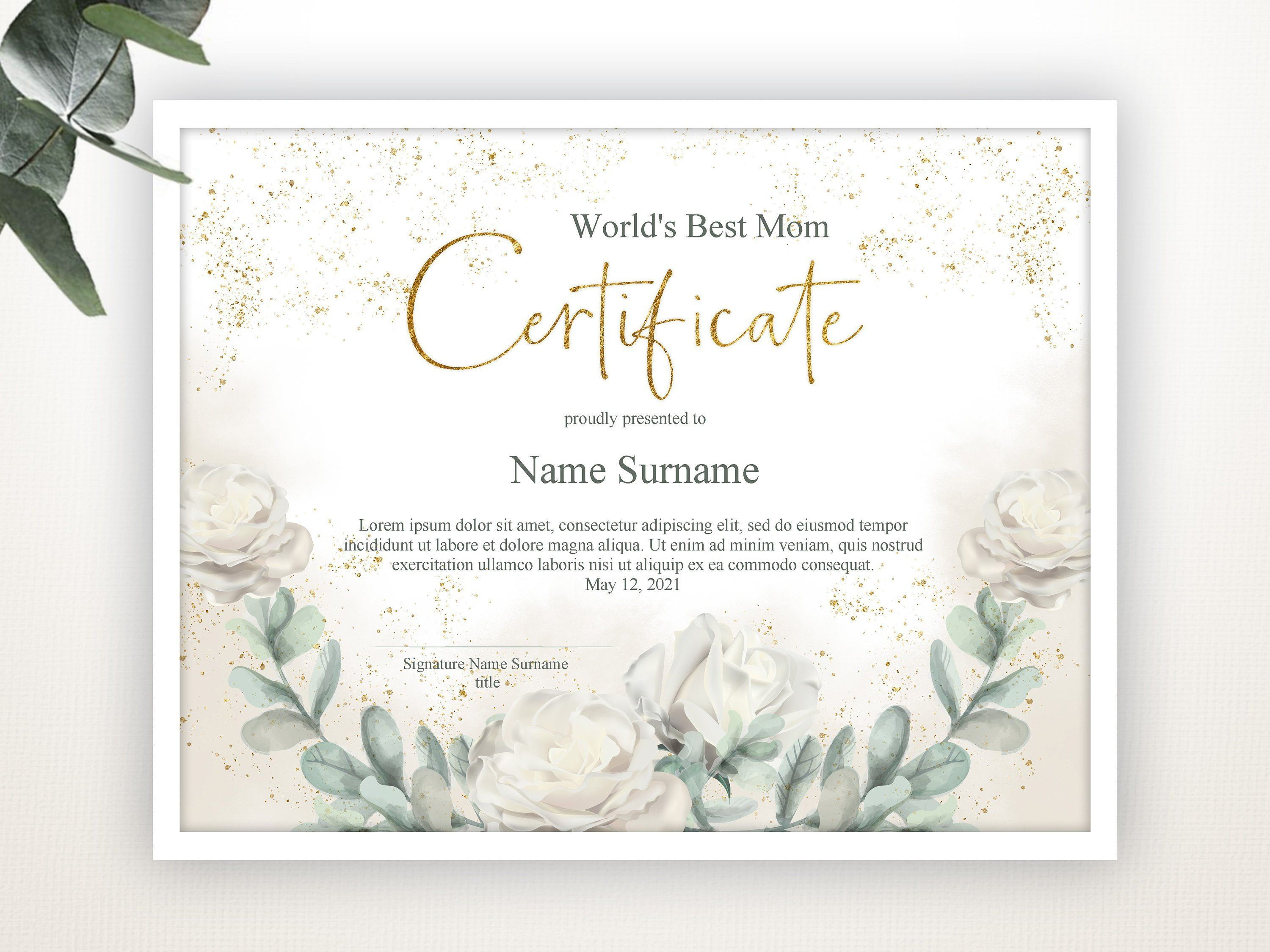 Editable Certificate Template, Gift for Mothers Day, Gift for Friend, Best Mom Award, Printable Certificate Template, Gift Certificate