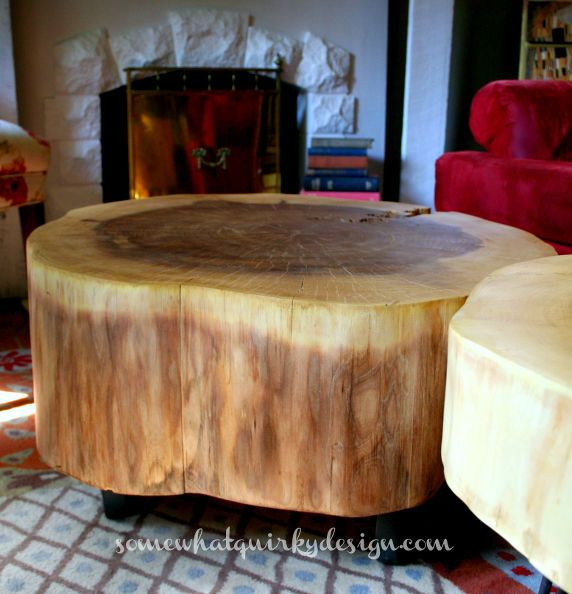 Large Tree Stump Coffee Table: DIY Table From Large Tree Slices