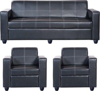 Cool Bharat Lifestyle Cosmo Leatherette 3 1 1 Black Sofa Set Machost Co Dining Chair Design Ideas Machostcouk