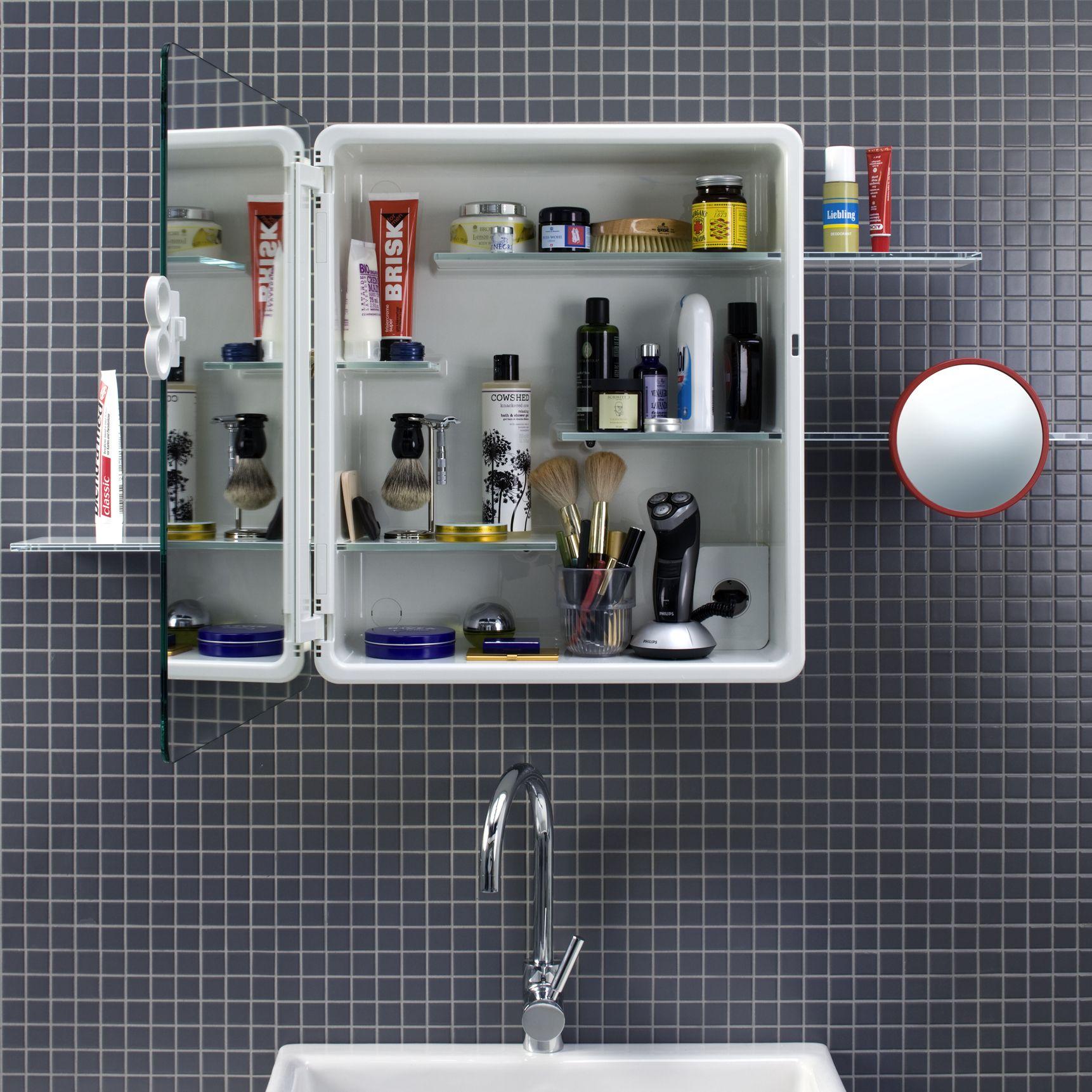 """Raumwunder für das Bad! Der Spiegelschrank """"Kali"""" von Authentics bietet für kleine Bäder den optimalen Stauraum. Vorne Spiegel, hinten Ablage."""