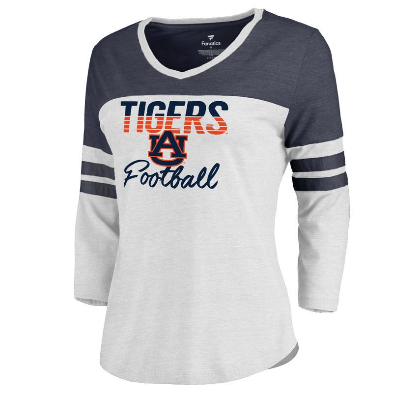 f15fadad2 Women s Fanatics Branded White Auburn Tigers Free Line Plus Size Color  Block 3 4 Sleeve Tri-Blend T-Shirt