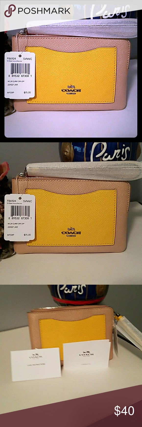 aa63627582fd AUTHENTIC COACH CORNER ZIP WRISTLET AUTHENTIC COACH CORNER ZIP WRISTLET IN  TAN COATED CANVAS WITH LEATHER