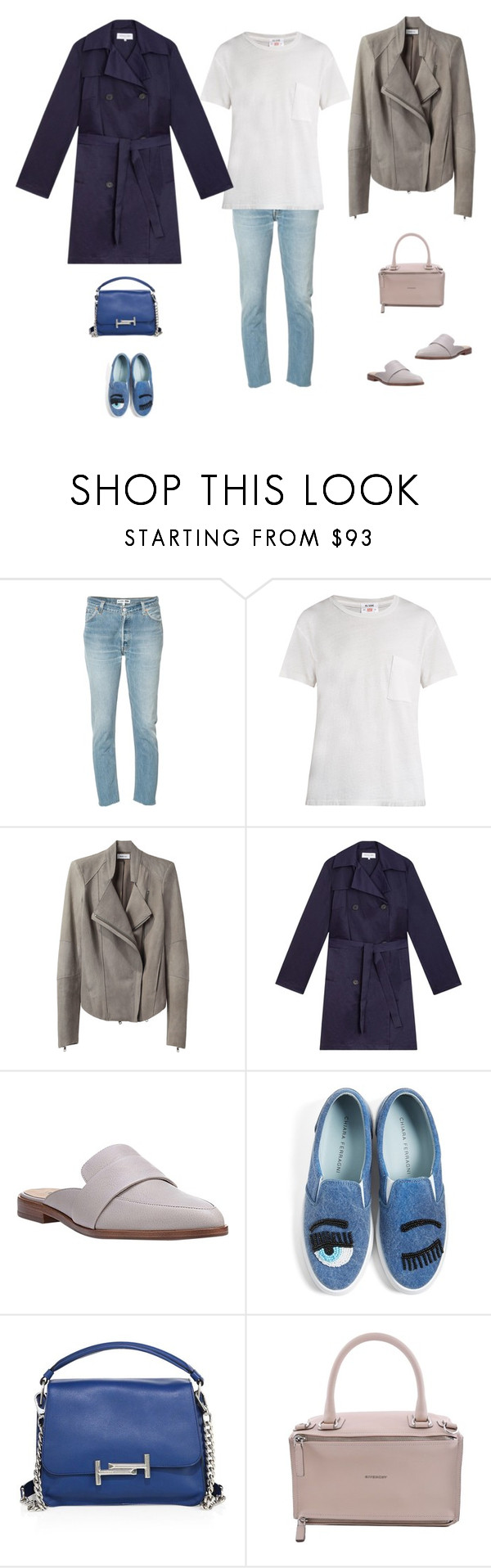 """""""Untitled #2686"""" by yuenchewwan ❤ liked on Polyvore featuring RE/DONE, Helmut Lang, Gérard Darel, Via Spiga, Chiara Ferragni, Tod's and Givenchy"""