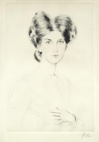 Paul César Helleu (French, 1859-1927) Female Portrait Drypoint, on wove, signed in pencil, with margins, 280 x 400mm (11 x 15 3/4in)(PL)