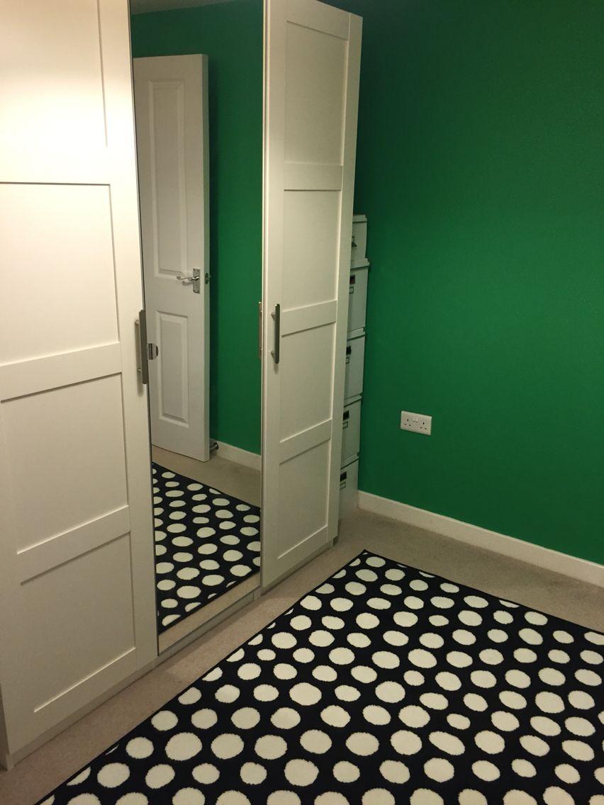 Ikea Pax wardrobe and Ikea polka dot rug plus Dulux Pixie Green ...