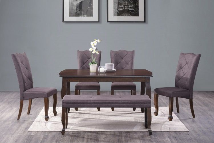 Modern Rectangle Dining Set Of 6 Bench Table Chairs Indoor Wood