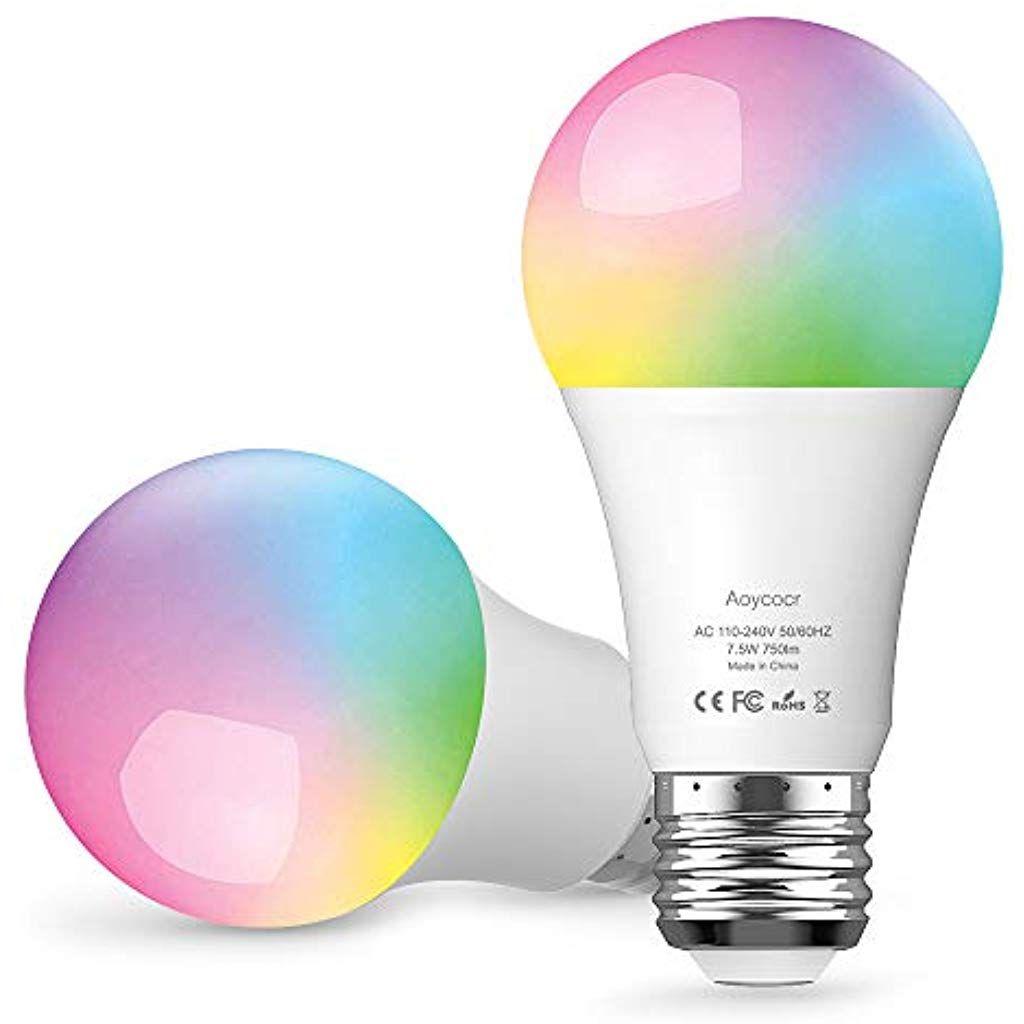 Smart Led Lampe E27 Doppelpack Wifi Gluhbirne Mehrfarbige Dimmbare Lampe Aoycocr Alexa Gluhbirnen 6500 Kelvin 750 Lumen Wi Led Lampe Led Leuchten Led