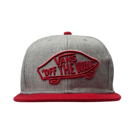 b6919446ace red and grey vans snapback hat.