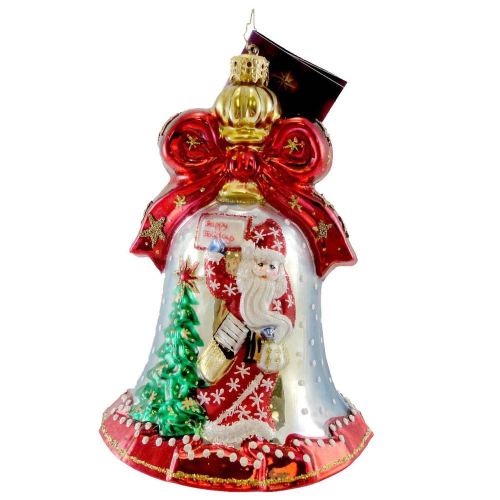 Christopher Radko SNOW LETTERS Blown Glass Ornament Bell Santa