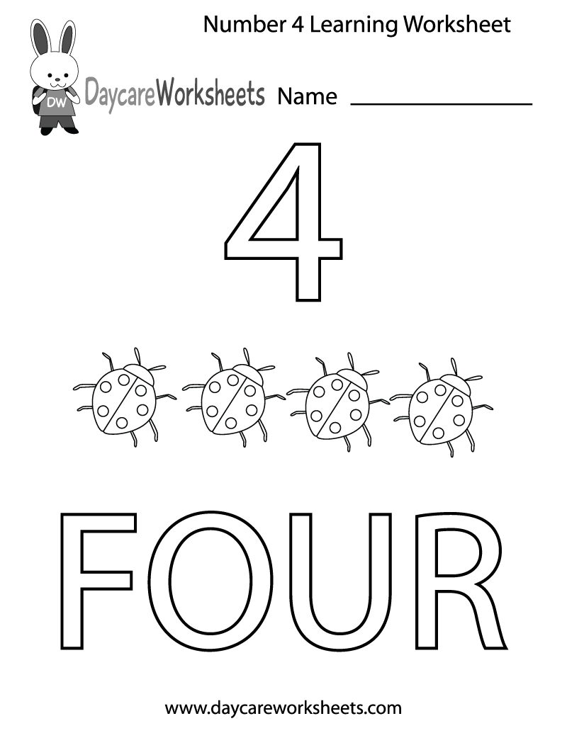 Number 4 Worksheets For Children Activity Shelter – Number 4 Worksheets