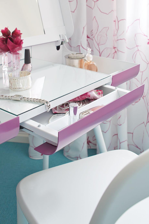 Secrétaire ST8 Blanc et rose Meuble design  Müller
