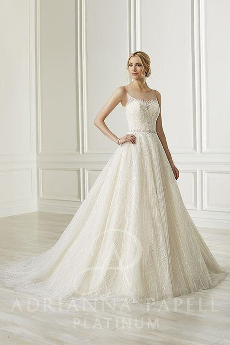 Adrianna papell 31105 sheer back bridal gown in 2021