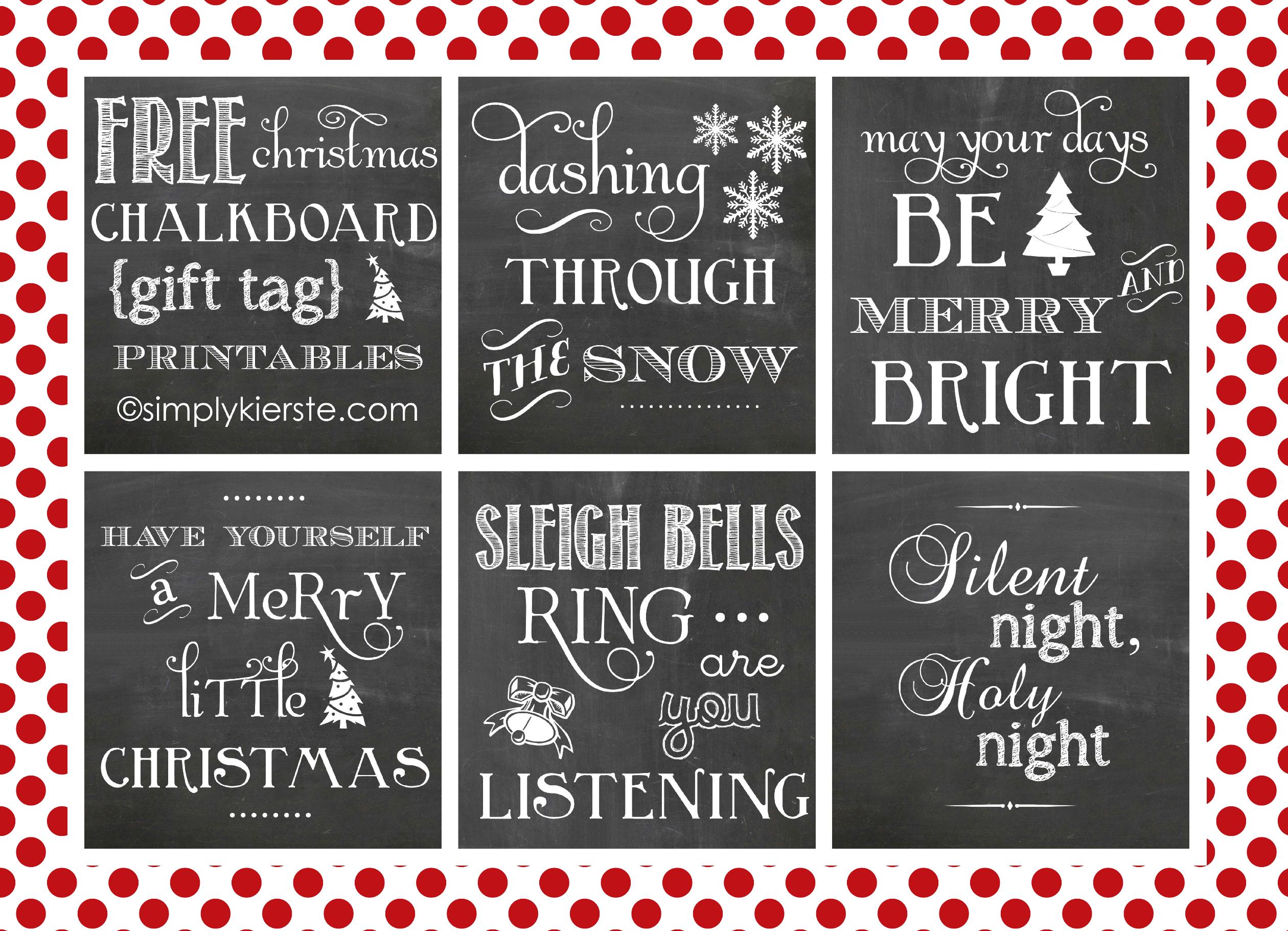 Christmas Chalkboard Gift Tag Printables - Simplykierstecom