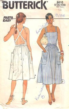 Butterick 6610 1980s Misses Fast and Easy Sun Dress Pattern Criss Cross Back Womens Vintage Sewing Pattern Size 14 Bust 36 UNCUT