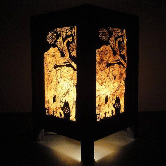 Asian Oriental Thai Elephant Bedside Table Lamp Wood Paper Light ...