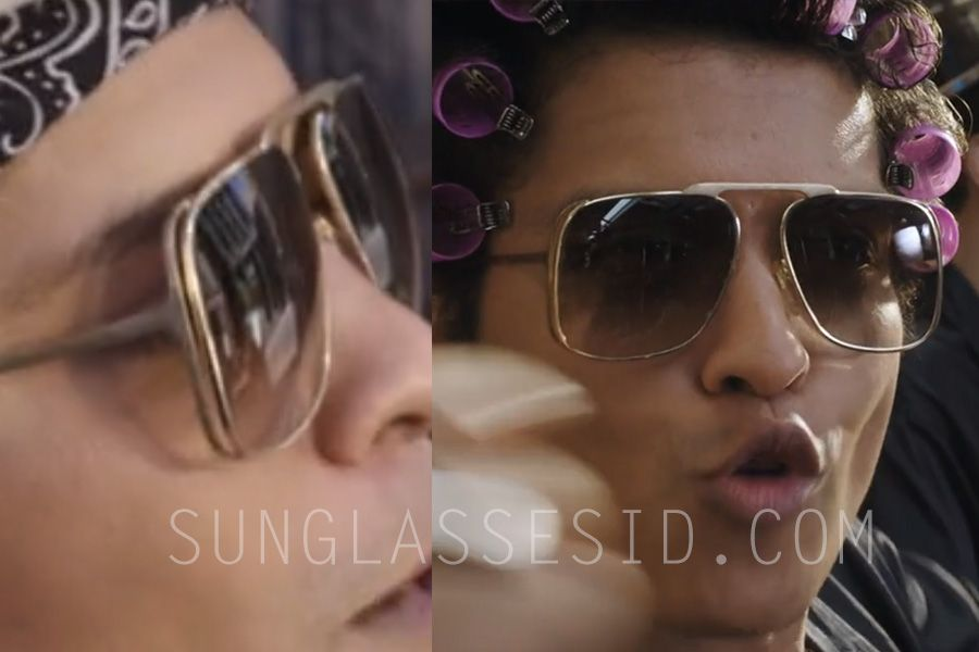 25765f2c85a Bruno Mars wears gold sunglasses in the music video Uptown Funk ...