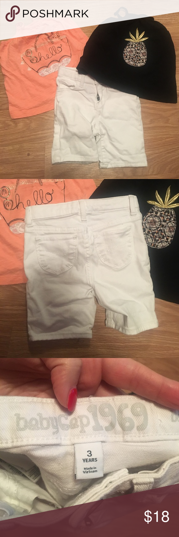 3T gap bundle Two tanks and one pair of white Bermuda shorts, all size 3T GAP Bottoms Shorts