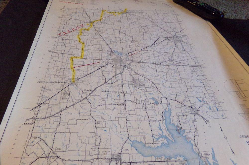Vintage Hunt County Texas Map w Railroad