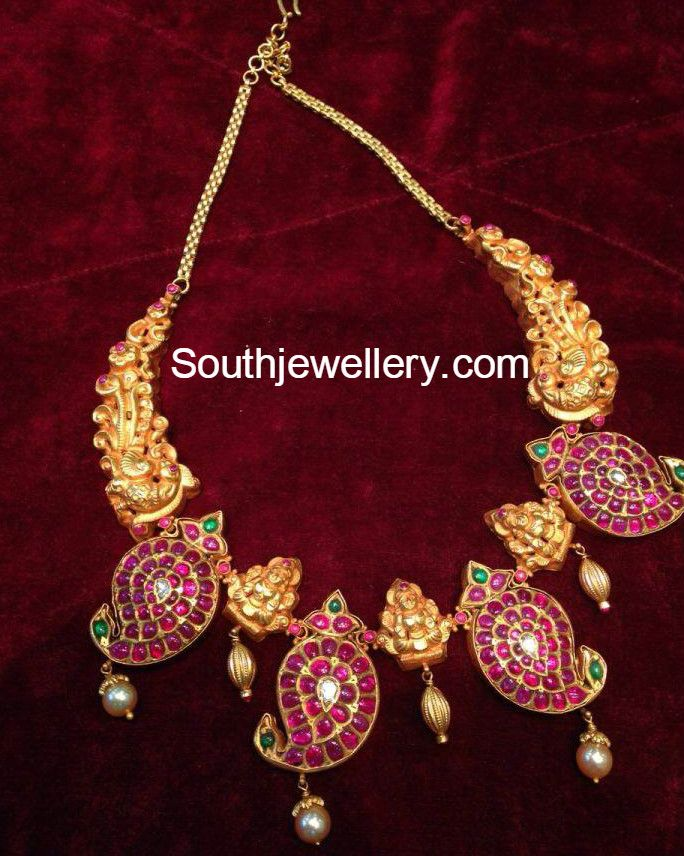 Mango Motifs necklace with peacocks and goddess lakshmi South