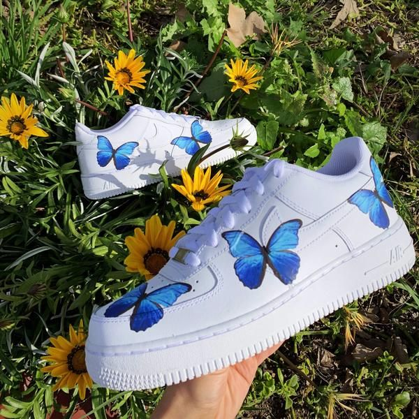 Blue Butterfly AF1 in 2020 | Aesthetic shoes, Butterfly