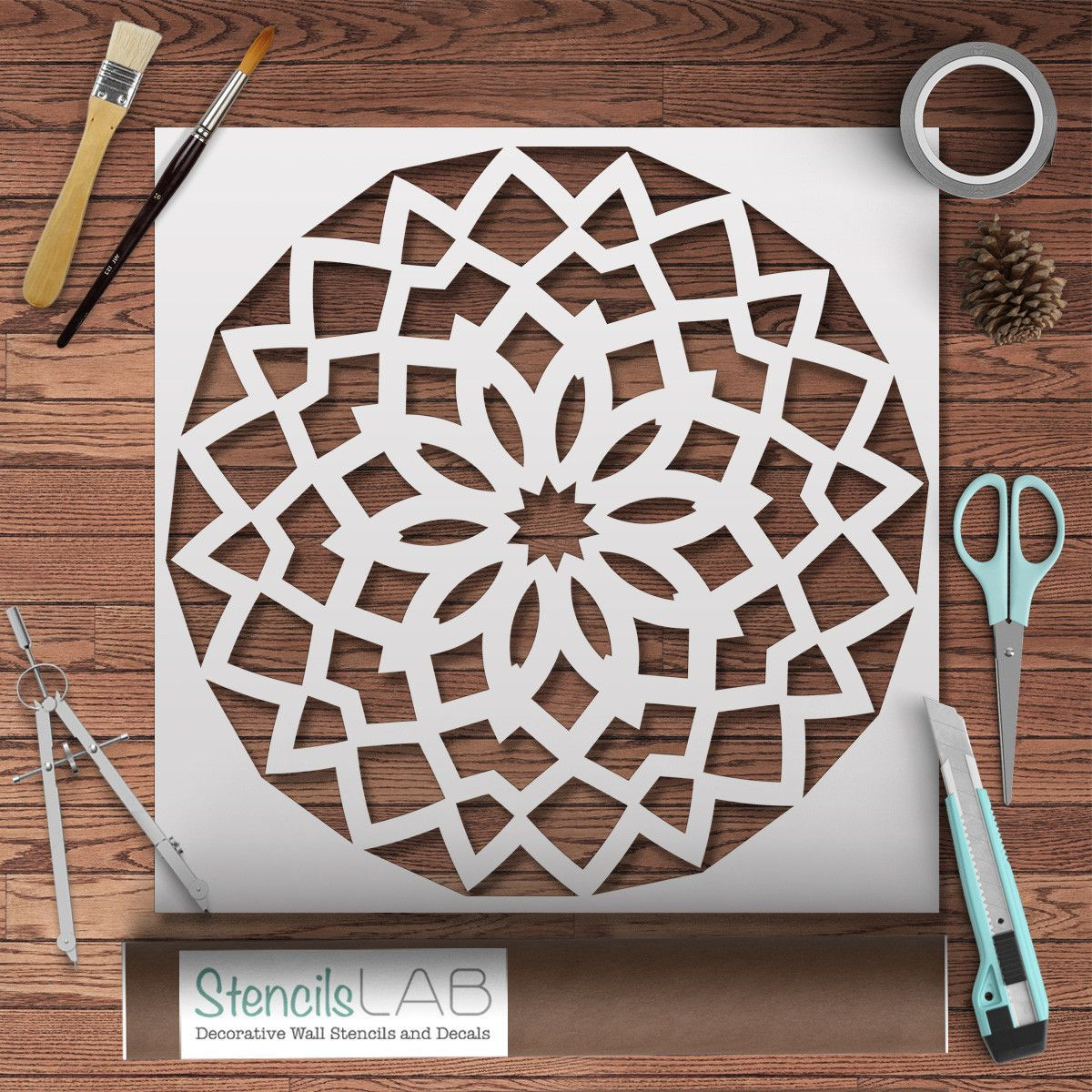 Round geometric mandala style stencil for wall decor original round geometric mandala style stencil for wall decor original design pinting stencil amipublicfo Images