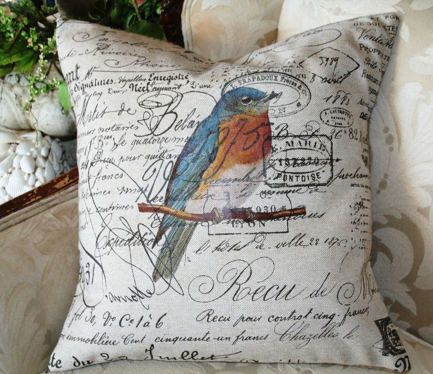 Bird Pillow 18x18 French Script And Blue Bird By Gathered Comforts