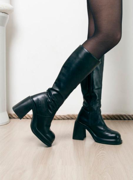 90s black platform boots