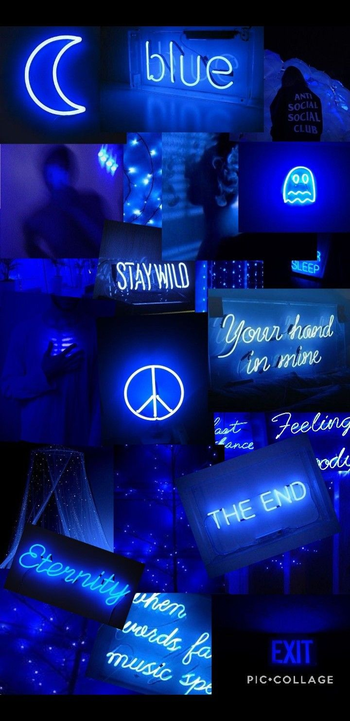 Another 2006 work, red and blue electric chair,is a neon riff on gerrit. Neon Blue Aesthetic Wallpaper Collage