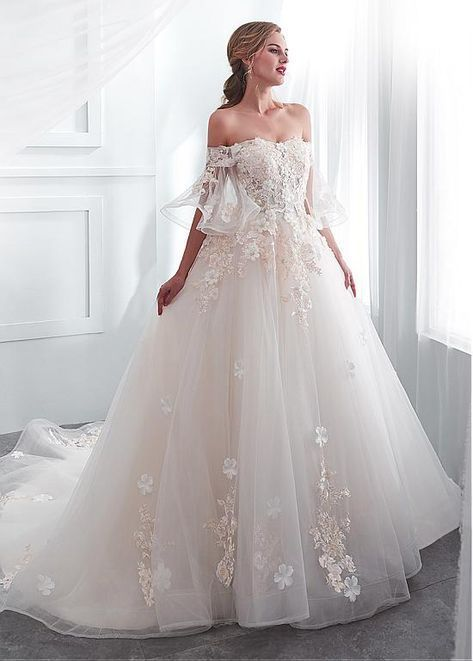 [188.99] In Stock Romantic Tulle Off-the-shoulder Neckline A-line Wedding Dress With Lace Appliques & 3D Flowers & Beadings #spitzeapplique