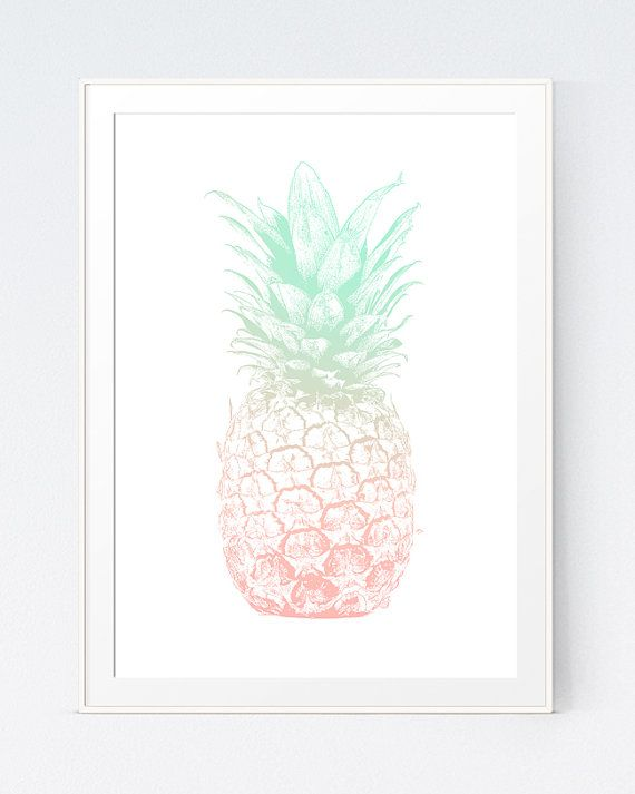 Mint Coral Pineapple Print Pineapple Art Coral And Mint Etsy Pineapple Wall Art Pineapple Decor Coral Wall Art