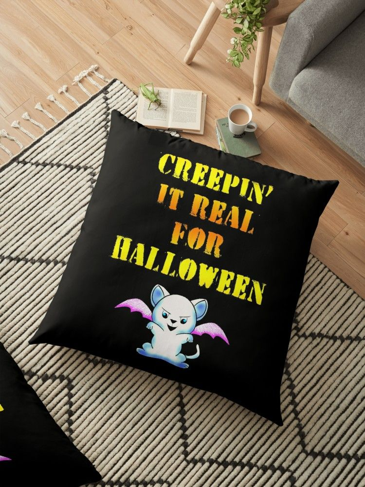'Creepin' it real for Halloween. Funny cat dressed up as a scary bat with bat wings for Halloween.' Floor Pillow by IvyArtistic