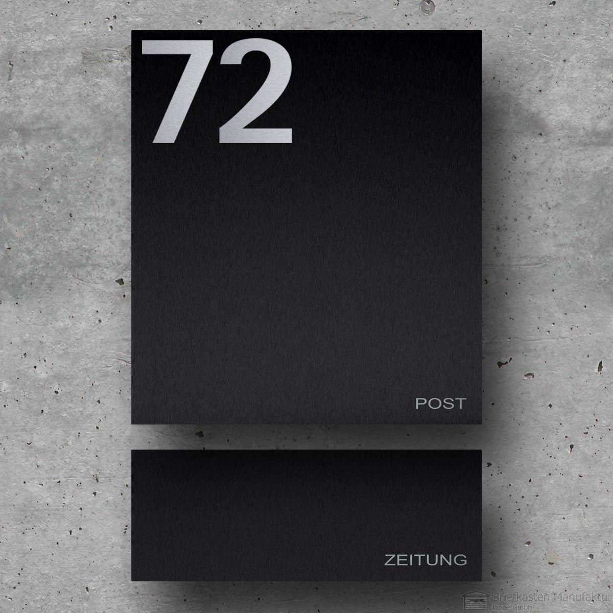 Edelstahl Designer Briefkasten Modell 89 mit Hausnummer ...