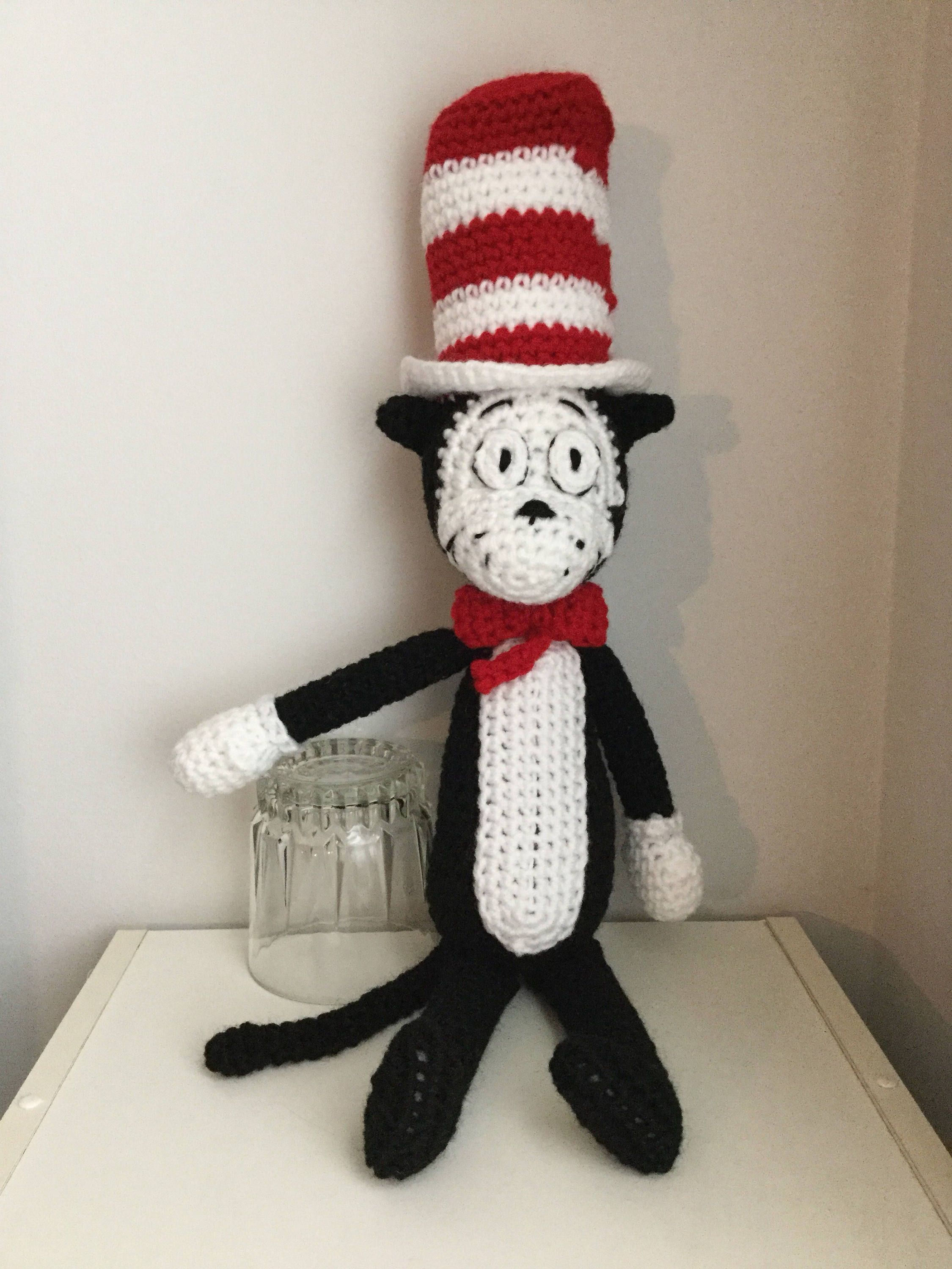 Crochet Amigurumi Dr Seuss Inspired Cat In The Hat Plush By