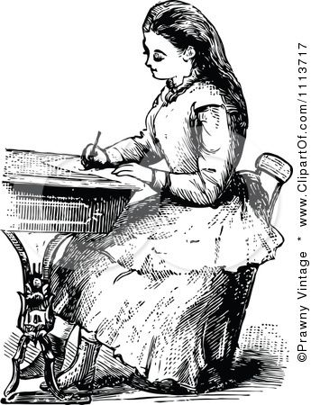 Clipart Vintage Black And White Victorian School Girl