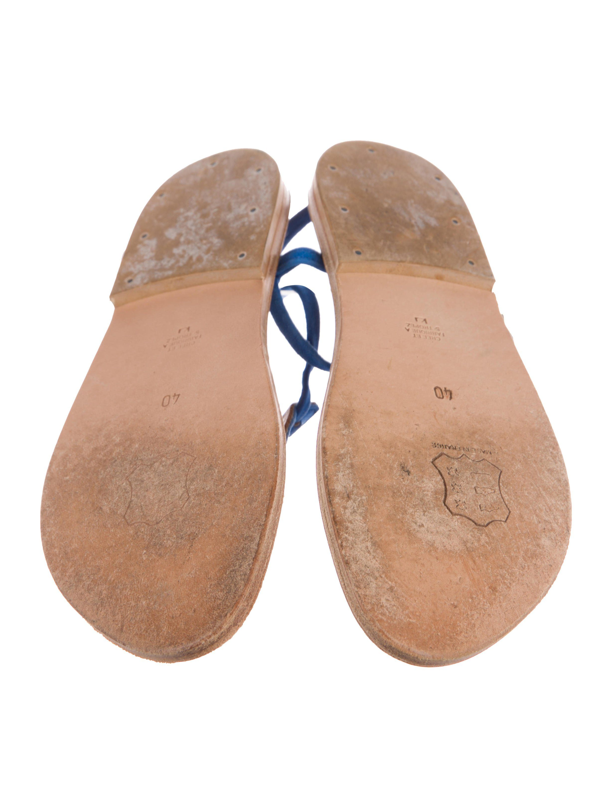 1673a6363db Cobalt suede K Jacques St. Tropez thong sandals with stacked heels and  buckle closure at ankles.