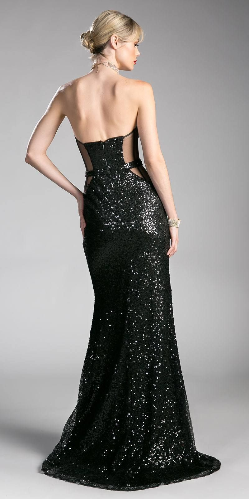10ea37c1f44dd Sequins Black Strapless Evening Gown Sweetheart Neckline with Slit ...