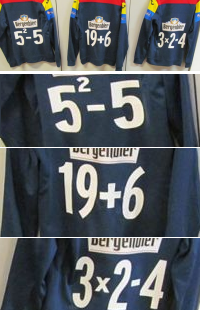 Drie voetbalshirts met sommen erop: 5 kwadraat - 5, 19 + 6, 3 x 2 - 4