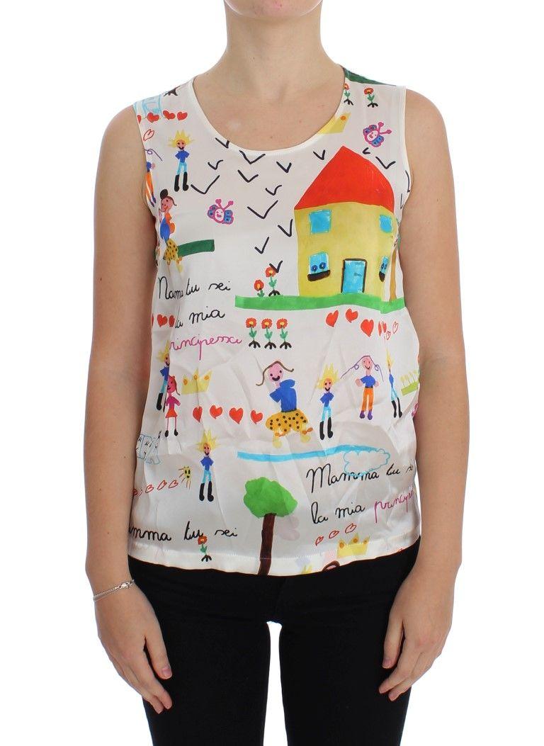 cc604b91865ea6  DolceGabbana  TopsTShirts Multicolor MAMMA Silk Blouse Top