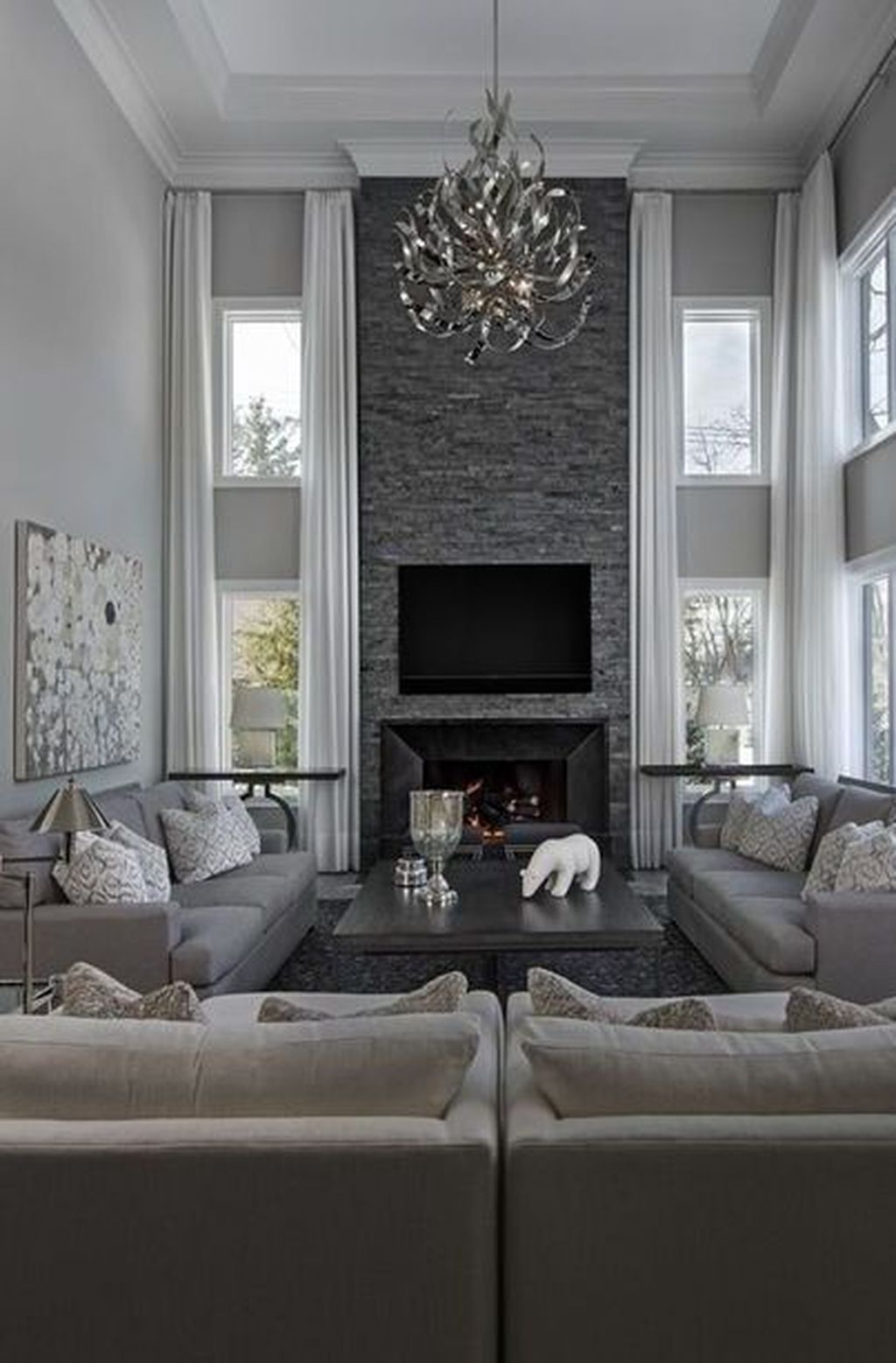 31 Charming Living Room Decorating Ideas With Grey Color To Try Asap In 2020 Elegant Living Room Decor Elegant Living Room High Ceiling Living Room
