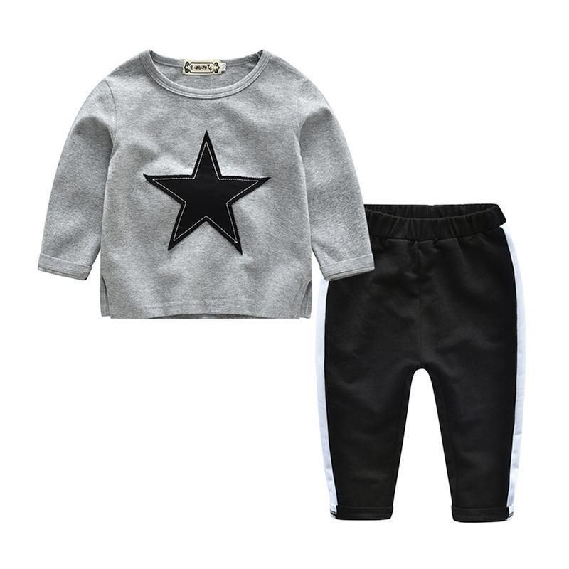 Dinlong Halloween Set Toddler Baby Boy Clothes Letter Print Top Long Pant Outfit