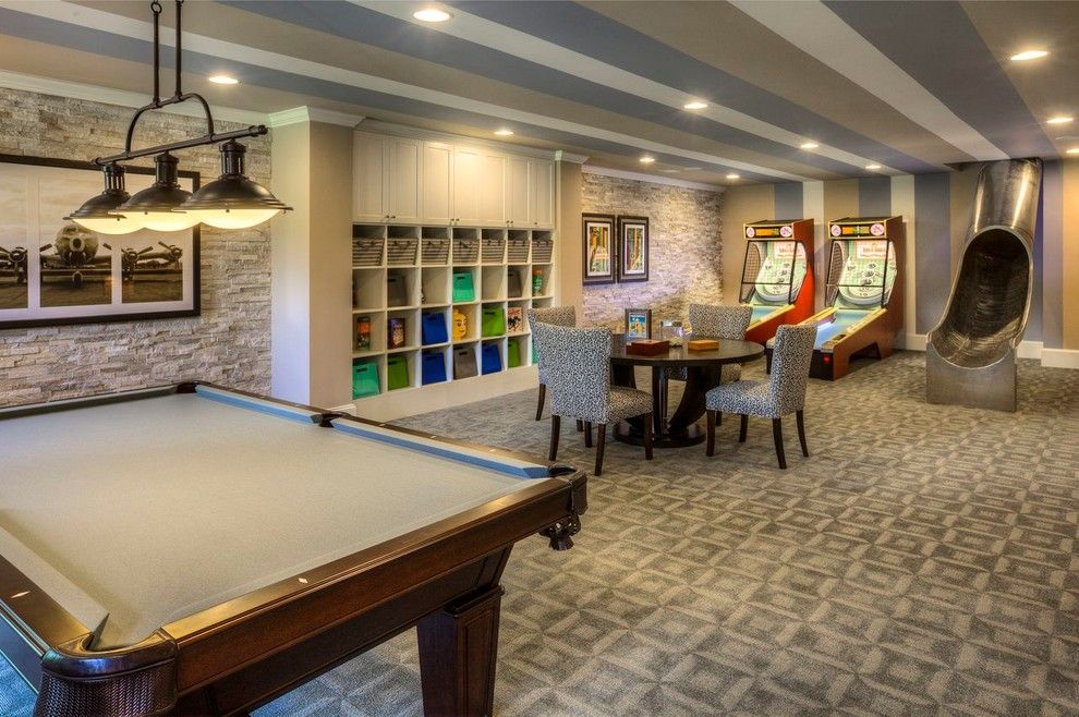 Pool Table, Metal Slide To Basement, Custom Cubbies, Striped Ceiling, Stone  Tile