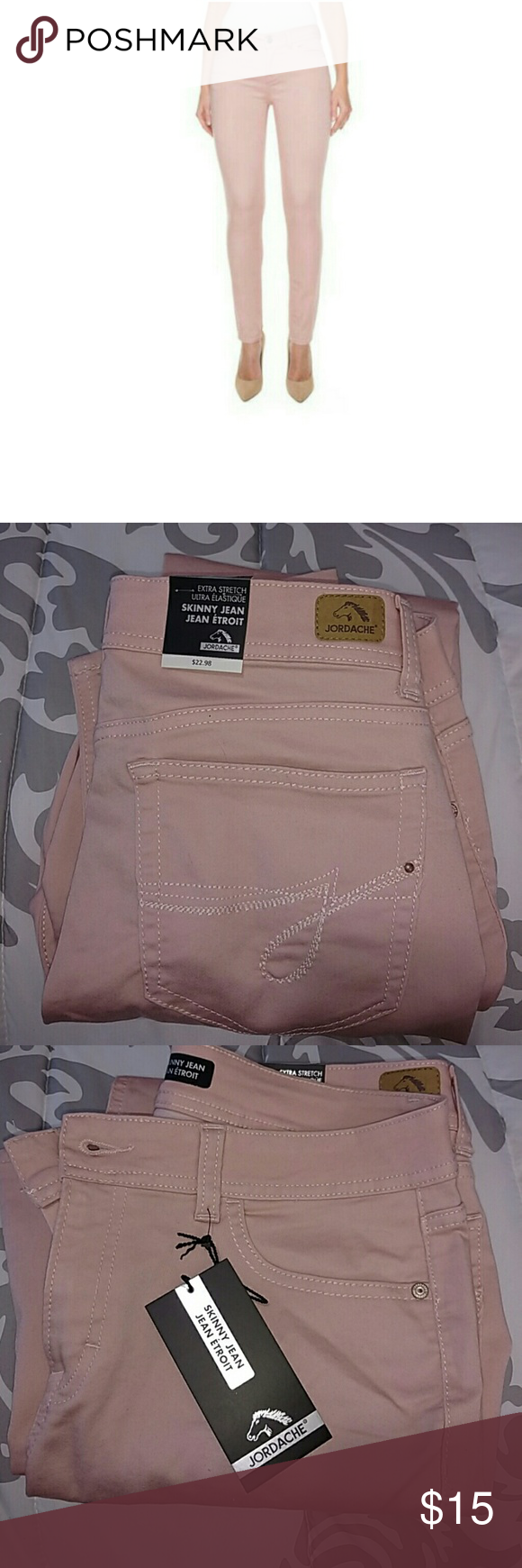 Jordache Skinny Jeans Rose colored skinny jeans. Brand new, never worn! Size 12 Regular Jordache Jeans Skinny