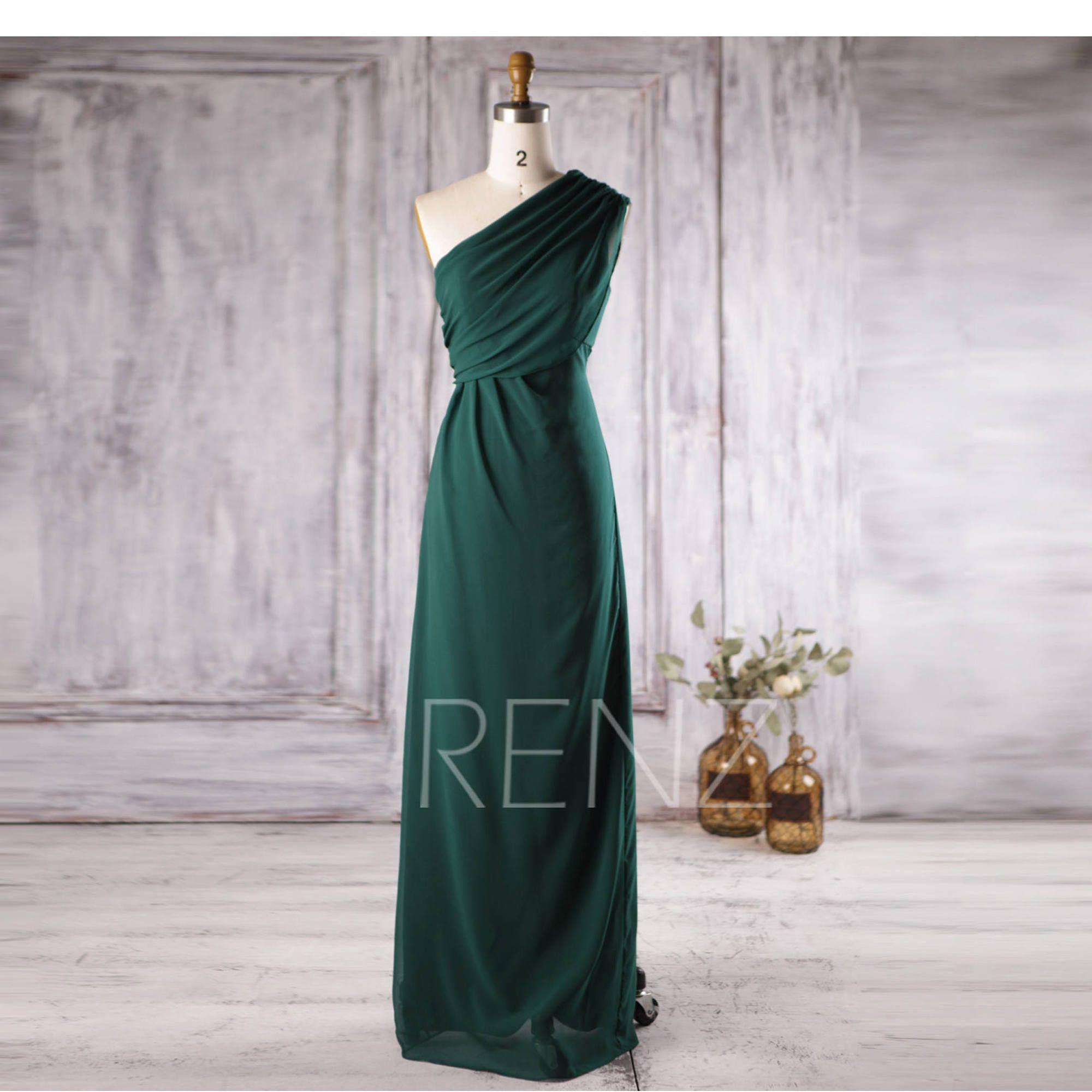 Forest green bridesmaid dress long chiffon wedding dress one dress