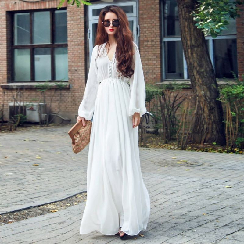Vestido blanco largo aliexpress