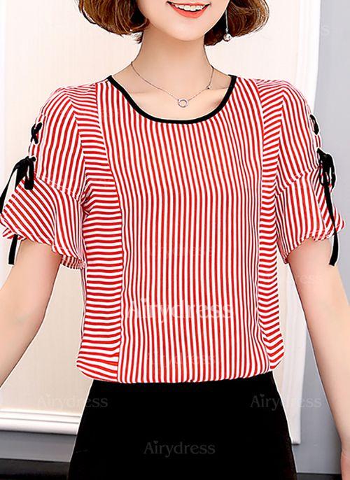 f23857b1e9e69 Raya Casuales Poliéster Cuello redondo Manga corta Camisas (1052941 ...