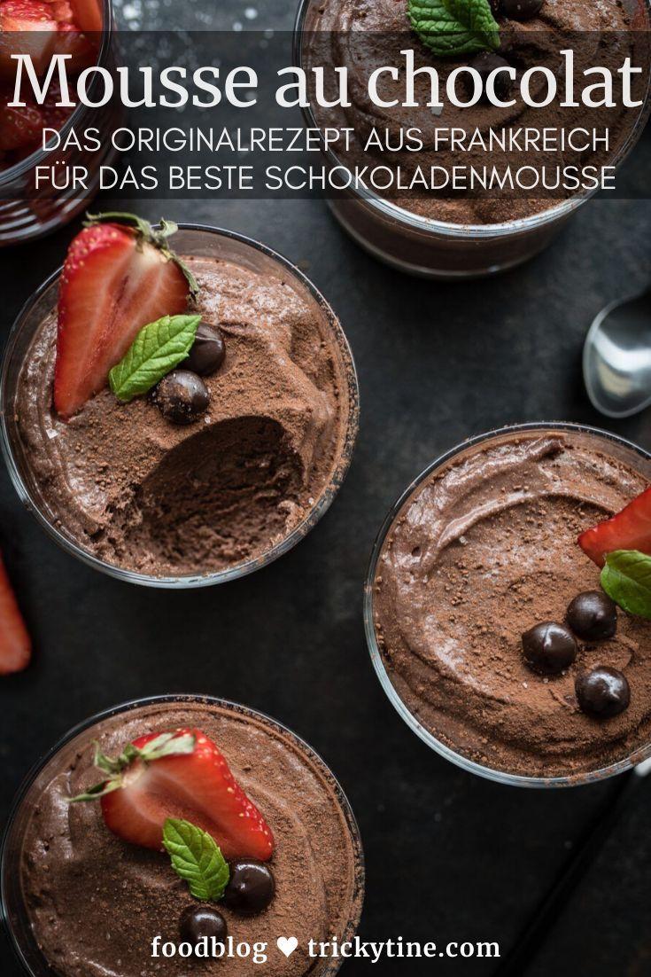 Mousse au chocolat - Rezept für original französische Schokoladenmousse mit Erdbeer Minz Salat #macaronrecette
