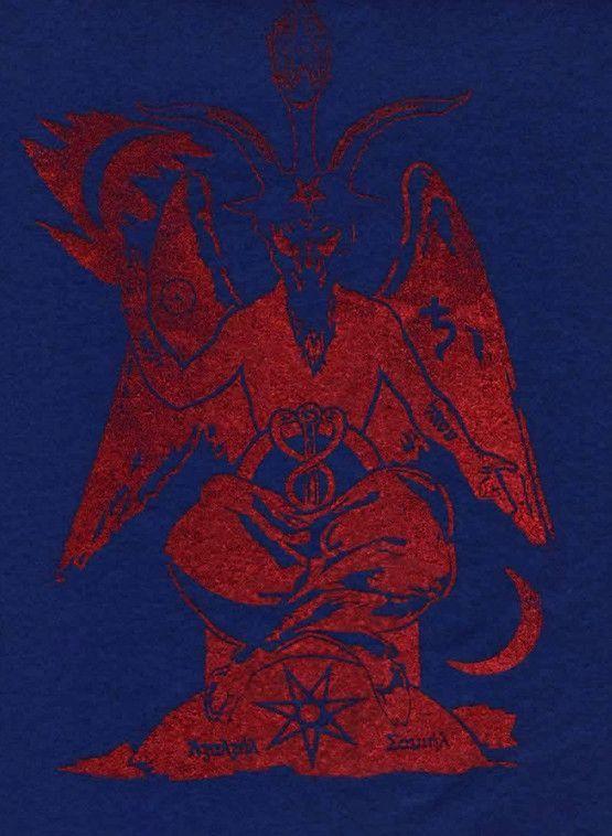 Azazel - Cain (Qayin) Sabbatic Goat 8 x 10 red print on blue felt