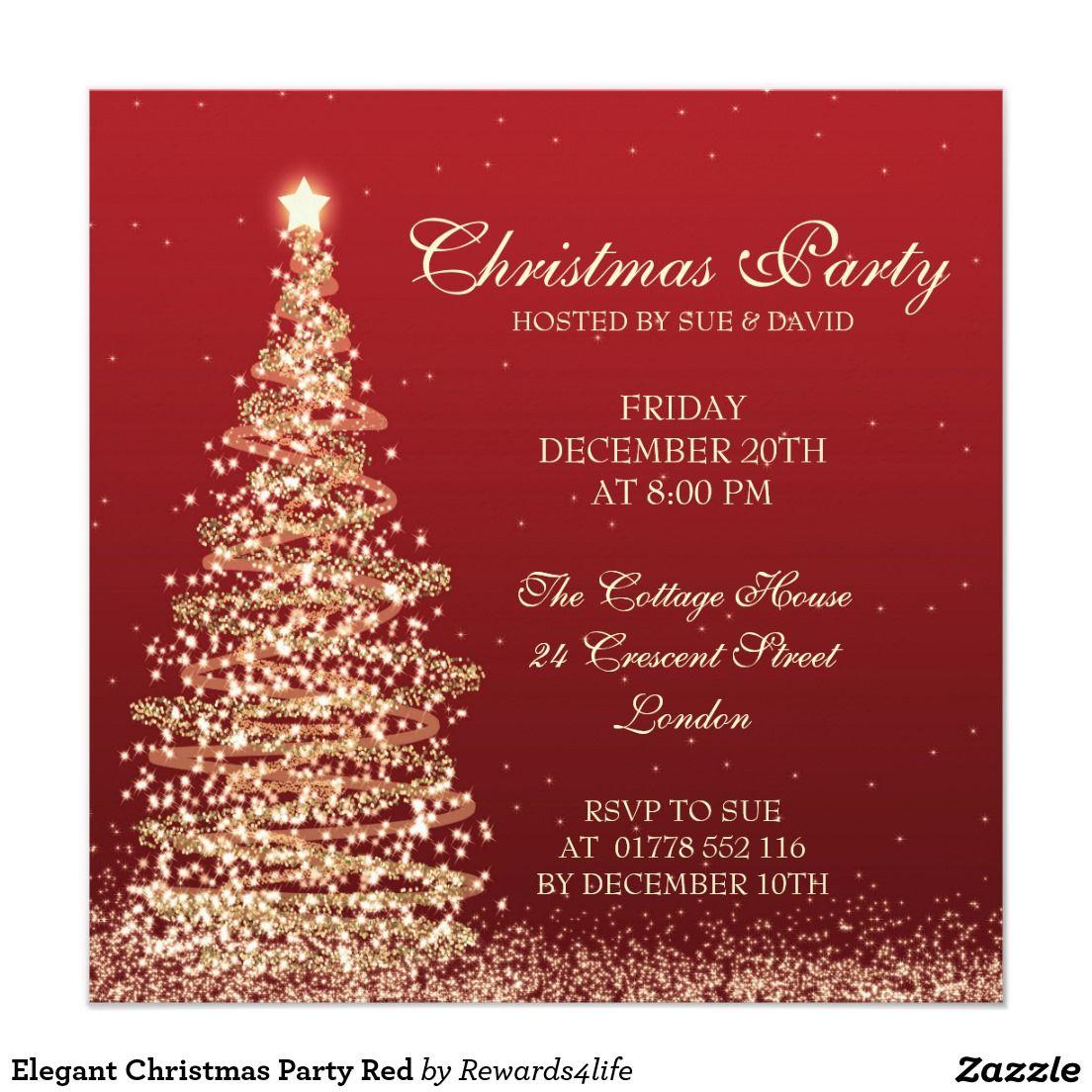 Elegant Christmas Party Red Invitation | Christmas Closet ...