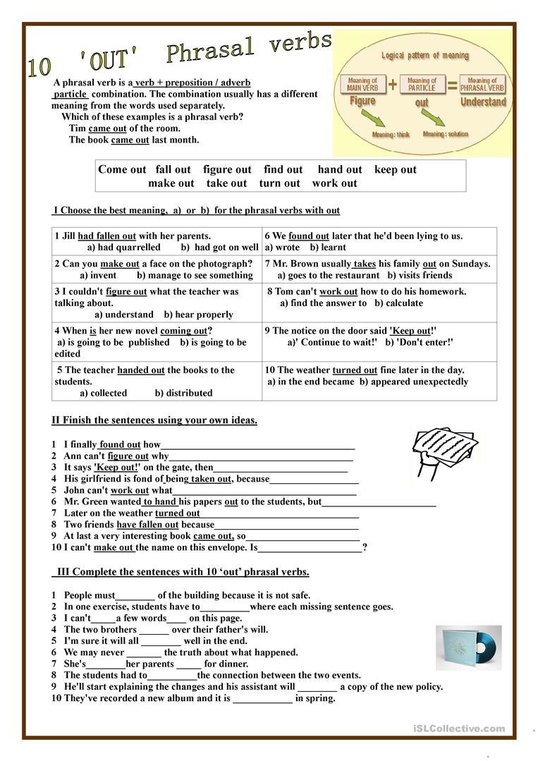 10 Out Phrasal Verbs Worksheet Free Esl Printable Worksheets Made By Teachers Verb Verb Worksheets Writing Skills [ 1079 x 763 Pixel ]