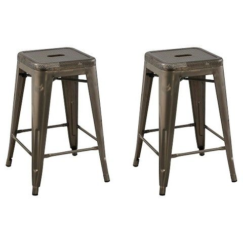 Perforated Top 24 Quot Counter Stool Distressed Metal Set